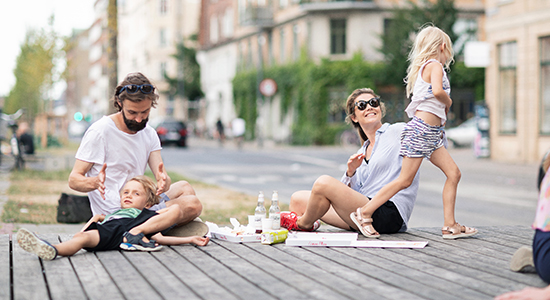 Family playing